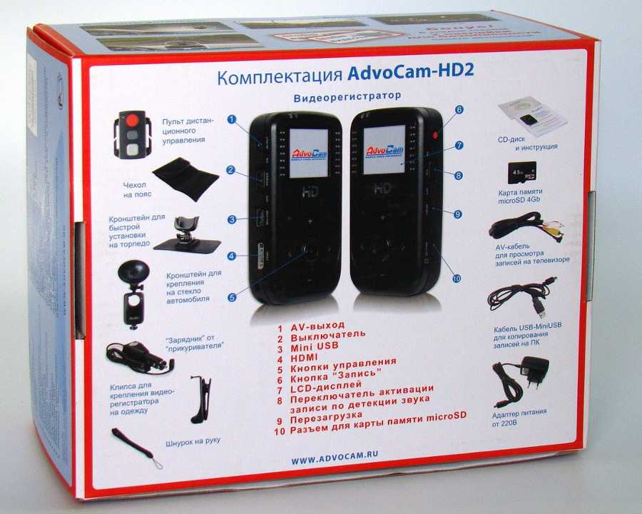 Комплектация AdvoCam HD2 2012