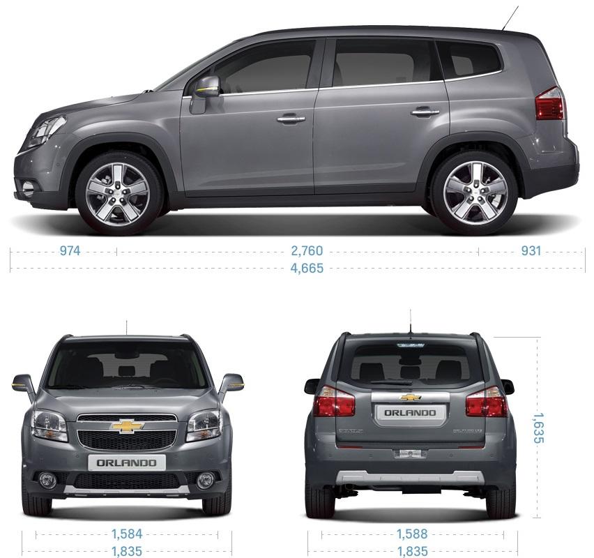размеры Chevrolet Orlando 2014