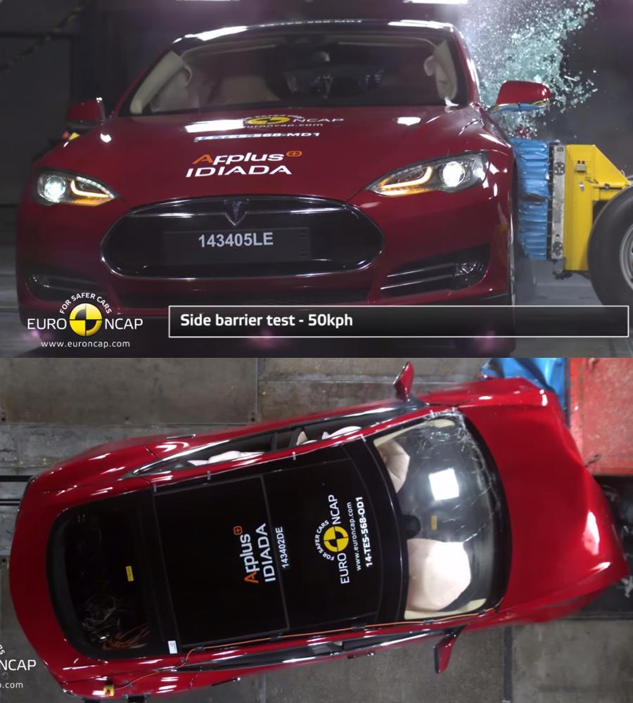 Tesla Model S 2014 краш-тест (видео)