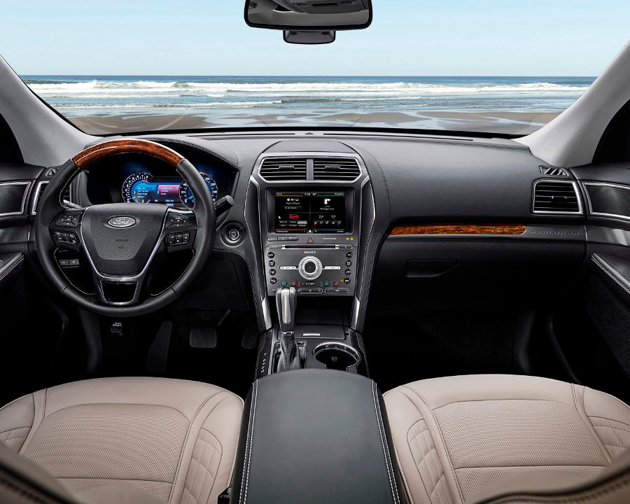 New 2016 Ford Explorer Platinum series interior in Medium Soft Ceramic