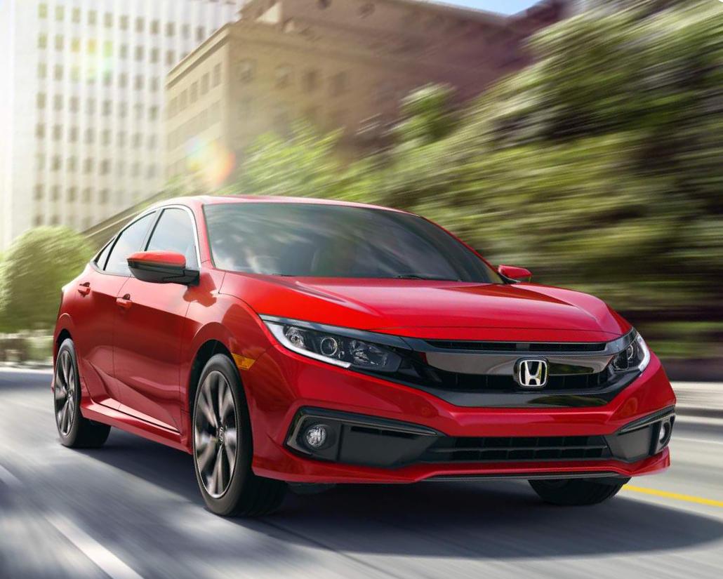фары, решетка, бампер седана Honda Civic 2019