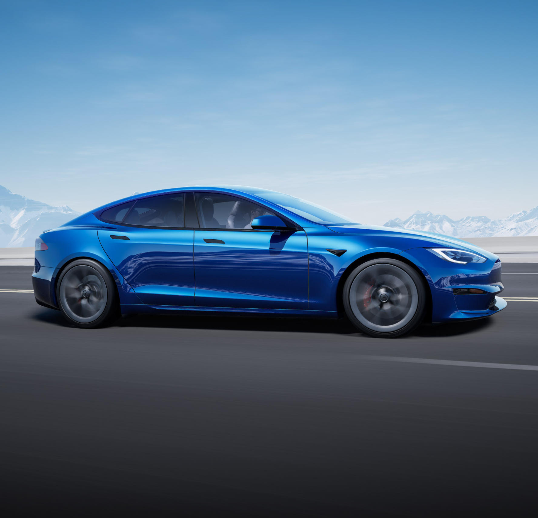 Новая Tesla Model S 2021 - 2022 сбоку